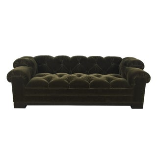 Tufted Green Mohair Sofa