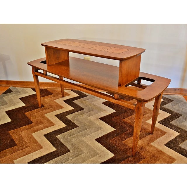 lane mid century two tier coffee table chairish. Black Bedroom Furniture Sets. Home Design Ideas