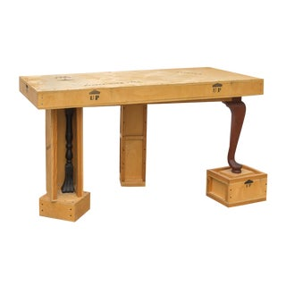 Post-Modern Plywood Collage Sculpture Crate Desk