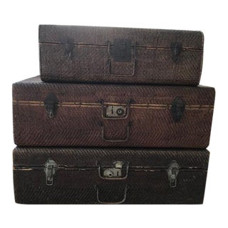 Abc Home & Carpet Decorative Vintage Rattan Wicker Woven Suitcases - Set of 3