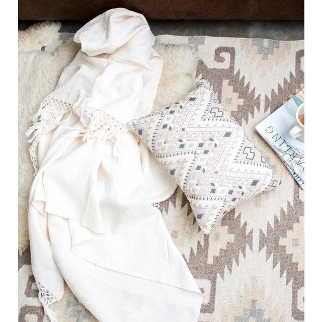 Hand woven Ecru Oaxaca Wool Rug - Image 3 of 4