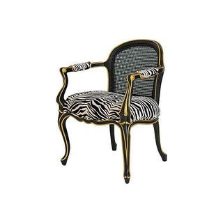 French Style Cane Back Zebra Fauteuil