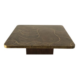 Etched Brass Coffee Table Style of Christian Krekels