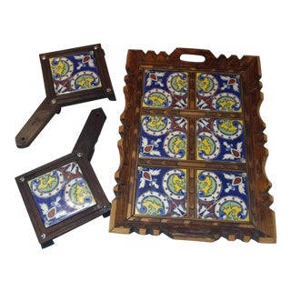Vintage Hand Carved Mosiac Tray & Tiles - Set of 3