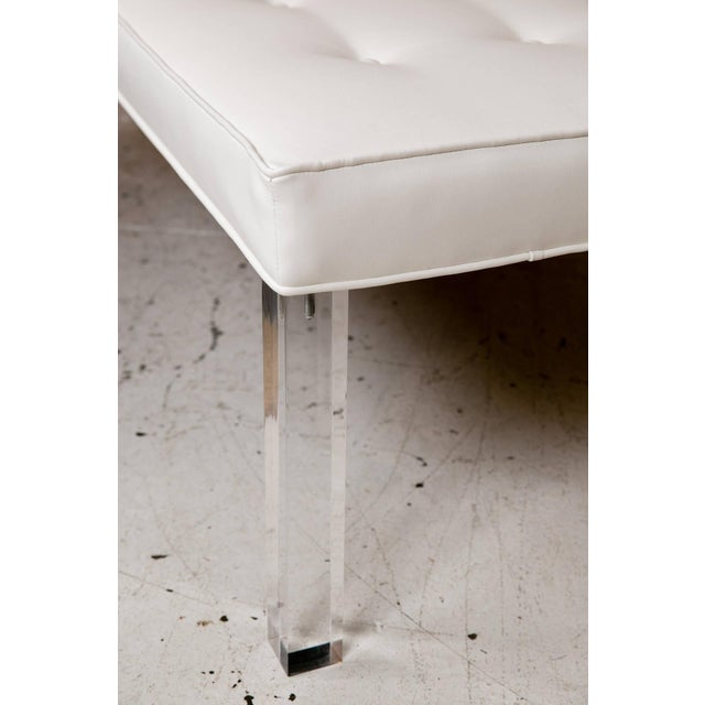 Mid-Century Lucite Tufted White Vinyl Bench - Image 7 of 7