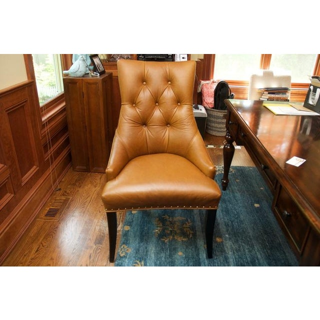 Leather Chair With Antique Brass Nail Heads - Image 3 of 5