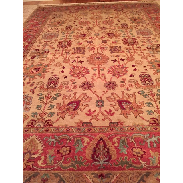 Designer Wool Rug Cream & Red - 8' x 11' - Image 8 of 10