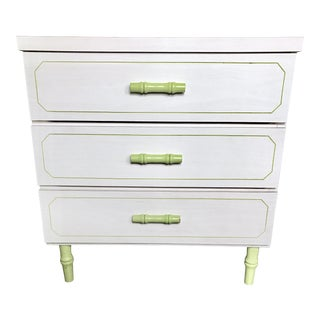 Off-White & Green Faux Bamboo Chest of Drawers