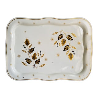 Mid 20th Century Modern Atomic Era Tole Painted Decorative Serving Tray