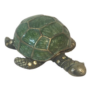 Brass & Green Turtle Votive Candle Holder