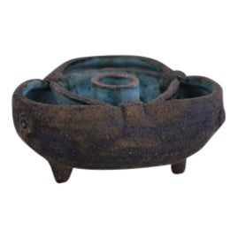 Vintage Brown & Turquoise Ceramic Candle Holder