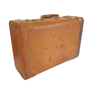 Vintage Kam Lung Cognac Leather Gold Monogrammed Initials Suitcase