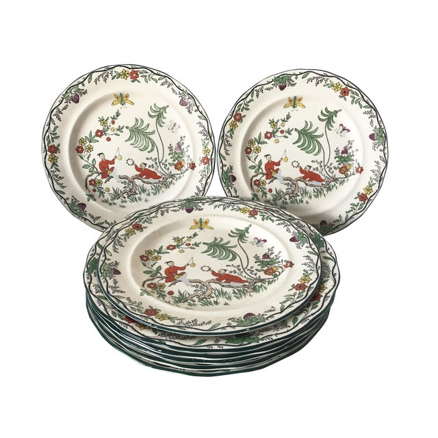 Image of C. 1915 Adderley English Chinoiserie Plates- Set of 8