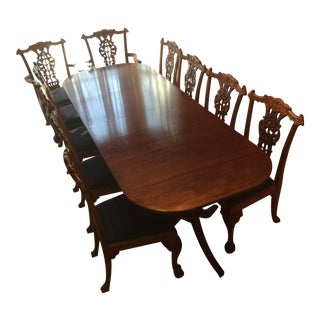 Mahogany Oak Leaf Chippendale Dining Set
