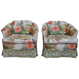 Vintage Regency Style Floral Club Chairs - A Pair