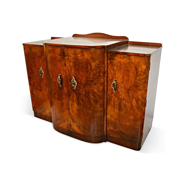French Art Deco Burl Walnut Veneer Bar/Buffet - Image 7 of 8