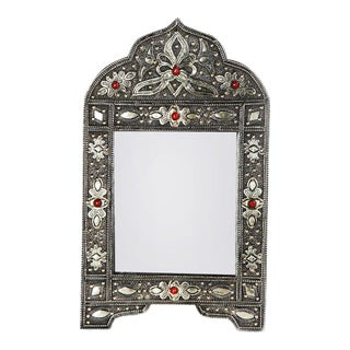 Handcrafted White Brass Berber Mirror