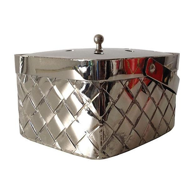 Image of Silverplate Woven Basket Vase