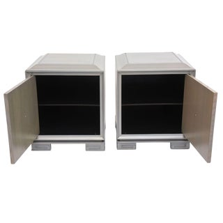 Pair of American Modern Cerused Oak Grey Cabinets, Attributed to James Mont