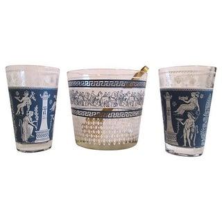 Midcentury Grecian Ice Bucket & Glasses - Set of 4
