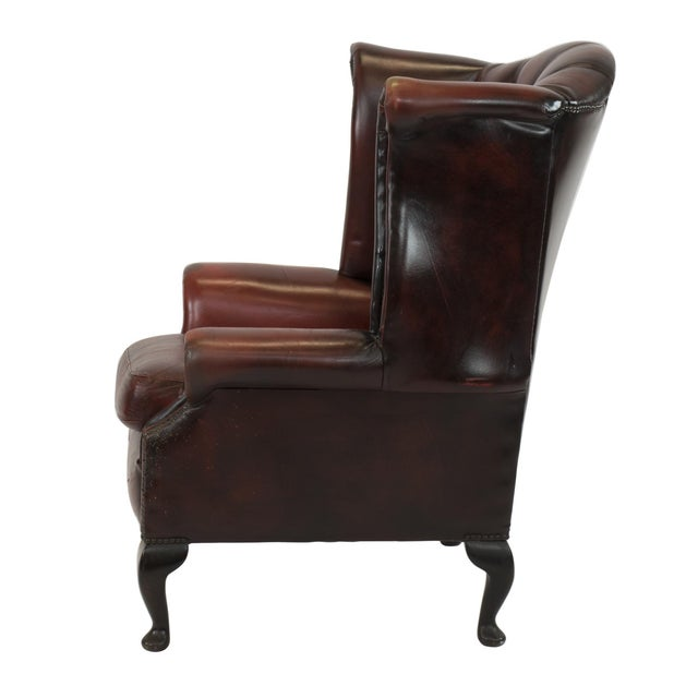 Image of Vintage 1960 English Tufted & Rolled Leather Chair