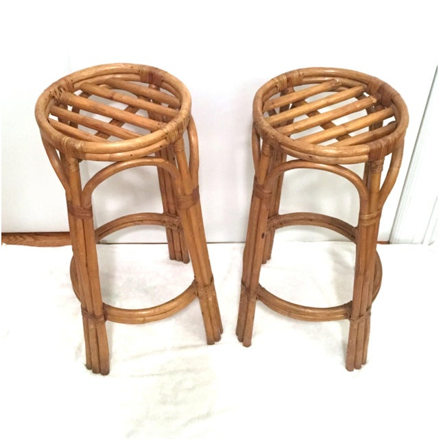 Vintage Rattan Stools or Plant Stands - a Pair - Image 4 of 7