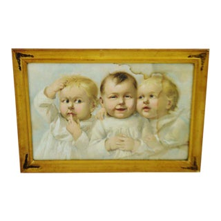 Early Gesso Framed Print of Three Babies