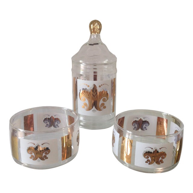 Vintage Fleur De Lis Jar and Bowl Set - Image 1 of 4