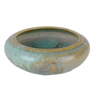 c.1920 Fulper Pottery Low Bowl Green Flambe and Crystalline Glaze
