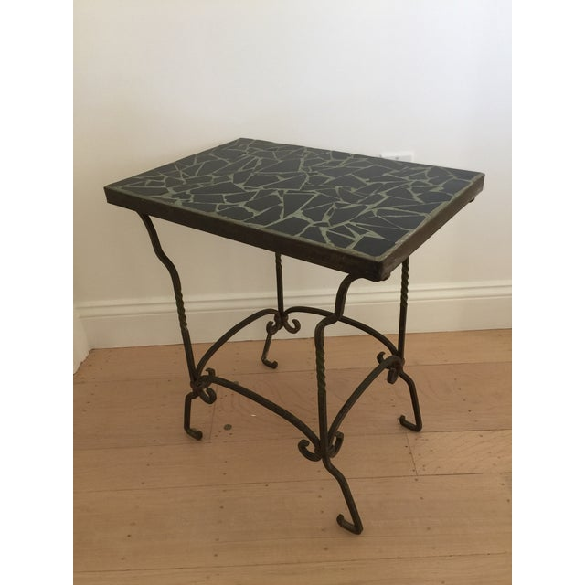 Black Cracked Mosaic Tile Top Iron Side Table - Image 8 of 8
