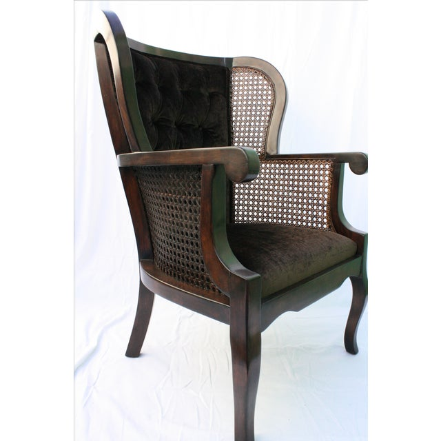 Vintage Regency Cane High Wingback Chair Chairish