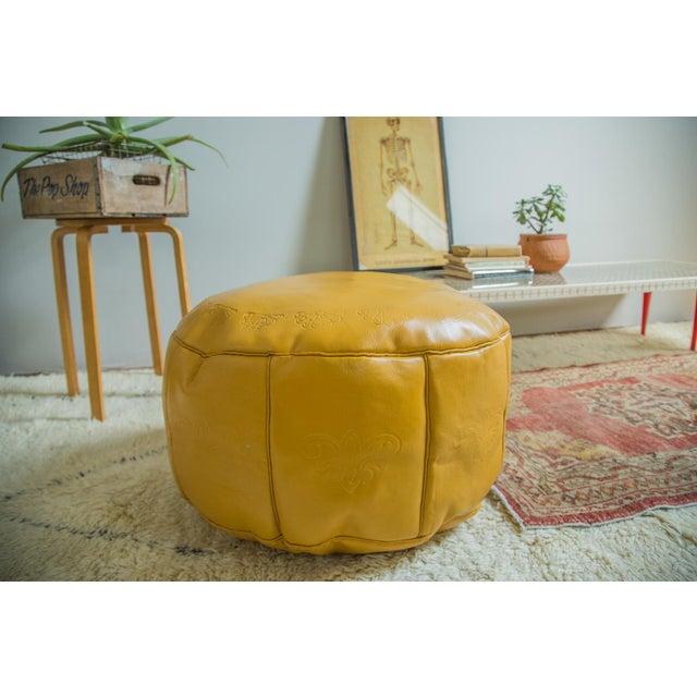 Antique Revival Yellow Leather Pouf Ottoman Chairish
