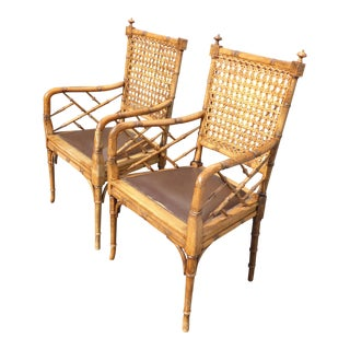 Vintage Chinoiserie Faux Bamboo Wood & Cane Back Arm Chairs - a Pair