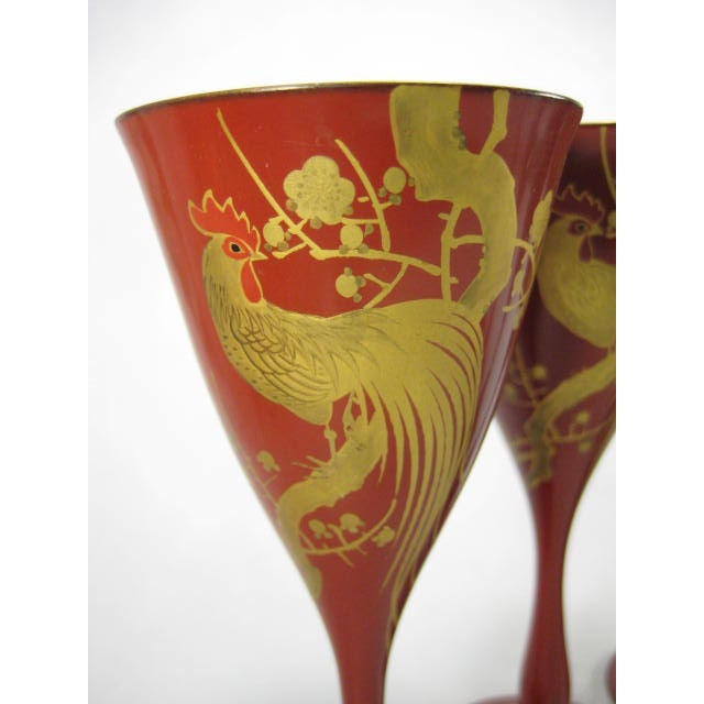 Red Lacquerware Martini Glasses - Set of 6 - Image 7 of 11