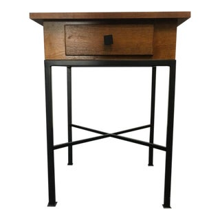 Craftman Carved Walnut & Steel Single Drawer End Table