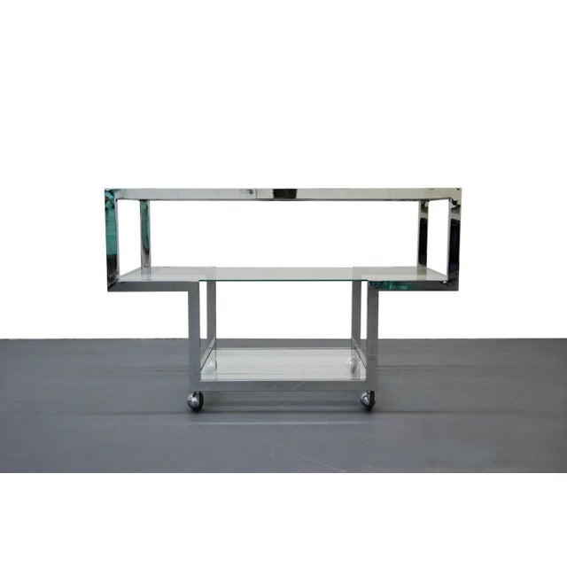Milo Baughman Mid-Century Chrome & Glass Bar Cart - Image 2 of 4