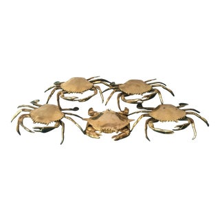Solid Brass Crabs - Set of 5