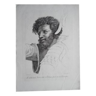 Large Portrait 18th C. Engraving After Raphael
