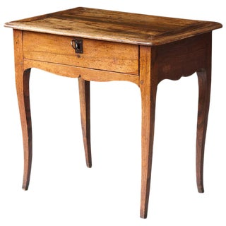 Petite Antique French Louis XV Style Provincial Walnut Side Table with Drawer