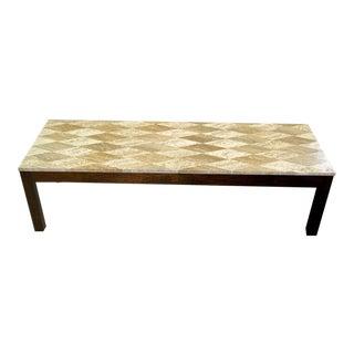 Intricate 1950 Diamond-Pattern Travertine Top Coffee Table