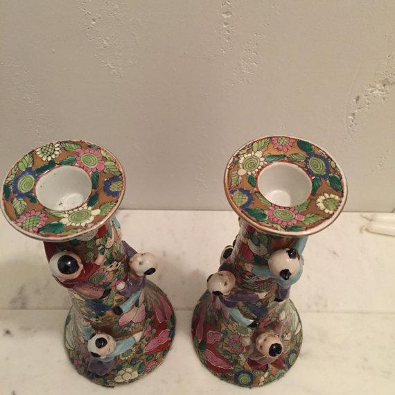 Chinese Fertility Candlestick Holders - Pair - Image 5 of 6