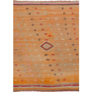 Turkish Orange Wool Pile Large Vintage Rug - 5' x 7'