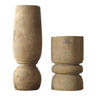 Rustic Pillar Candle Holders - A Pair
