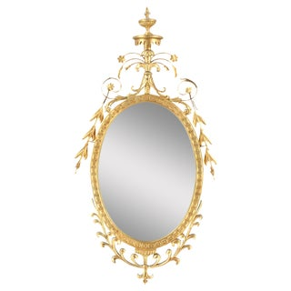 Pasargad NY Adam Style Oval Mirror in Gold Metal Leaf Finish