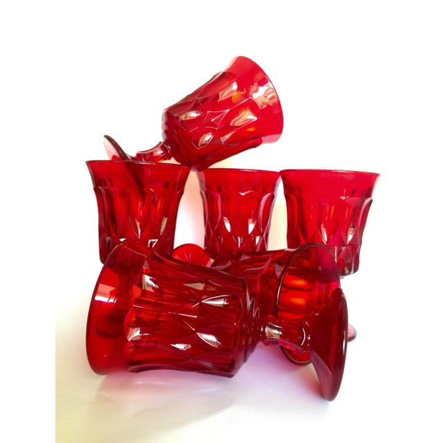 Mid-Century Ruby Red Goblets - Set of 6 - Image 2 of 11