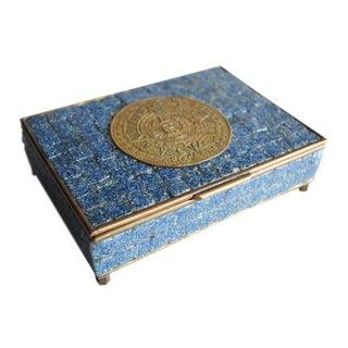 Mid-Century Tile & Brass Box