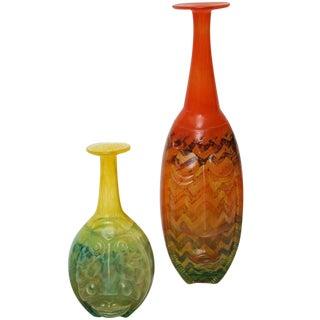 """Rare Pair of Signed Kjell Engman Kosta Boda Glass Sculptures Entitled """"Rio"""""""