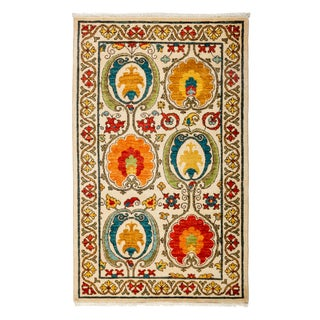 "Modern Suzani Hand-Knotted Rug - 3' 1"" X 5' 1"""