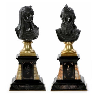 19th Century Egyptian Isis & Ramses II Bronze Busts - a Pair