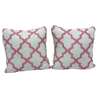 Schumacher Fabric Pink Trellis Pillow - Pair
